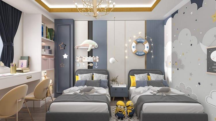 mẫu thiết kế phòng ngủ cho 2 bé trai
