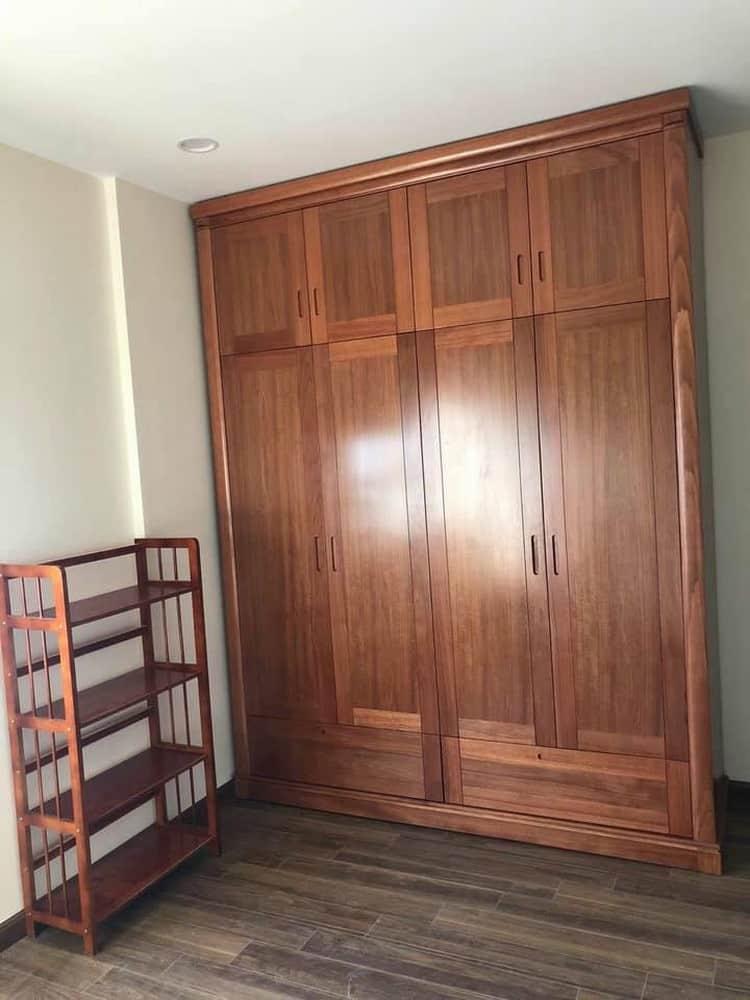 mẫu tủ quần áo 4 cánh đẹp gỗ tự nhiên