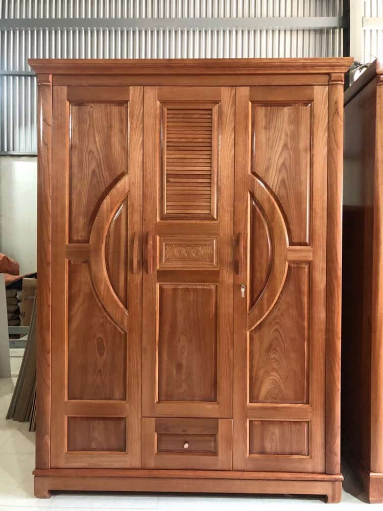 mẫu tủ quần áo 3 cánh gỗ tự nhiên đẹp