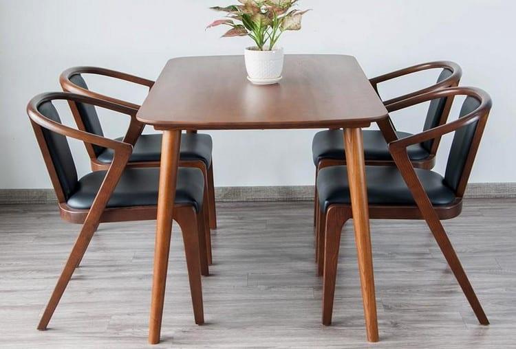 bàn ghế ăn 4 ghế gỗ óc chó