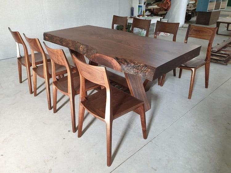 bàn ăn gỗ óc chó nguyên tấm