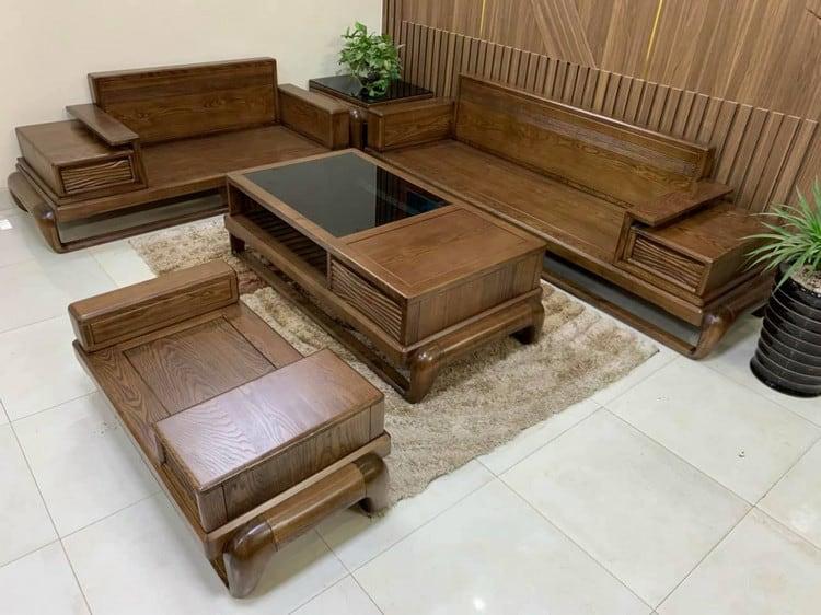 mẫu sofa gỗ óc chó đẹp