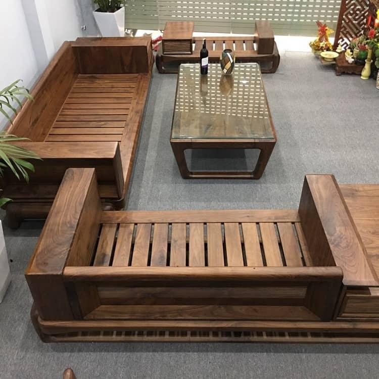 sofa gỗ óc chó chữ I