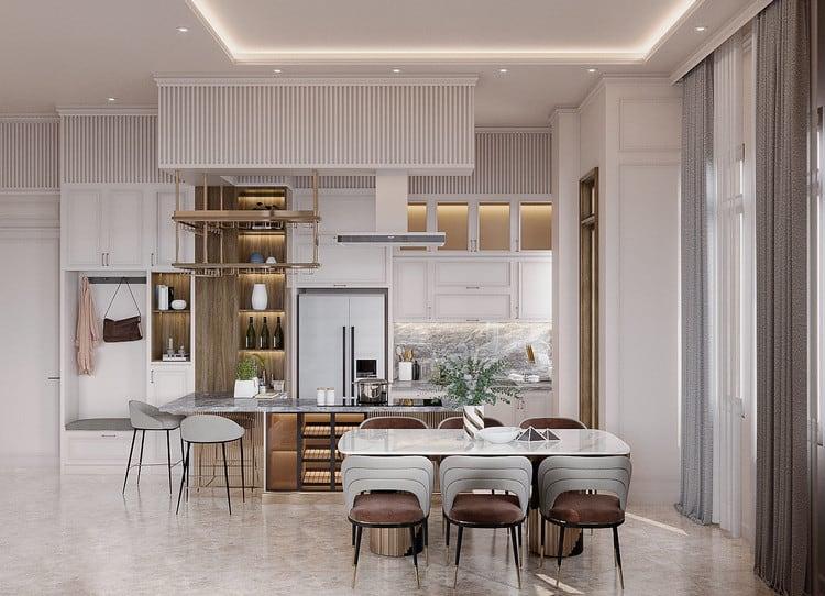 phòng bếp nhà ống 5m tân cổ điển nhỏ đẹp đơn giản