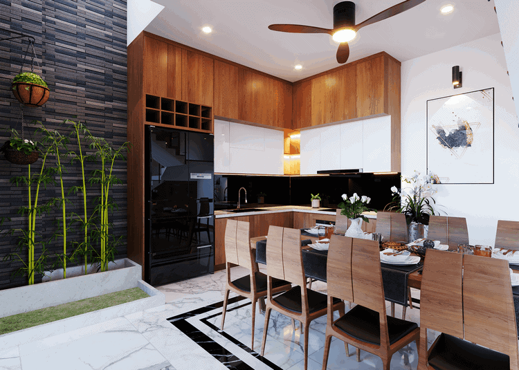 thiết kế nhà bếp và phòng ăn cho nhà ống