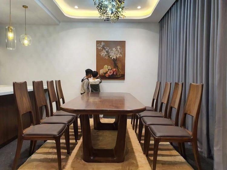 bộ bàn ăn 8 ghế gỗ óc chó
