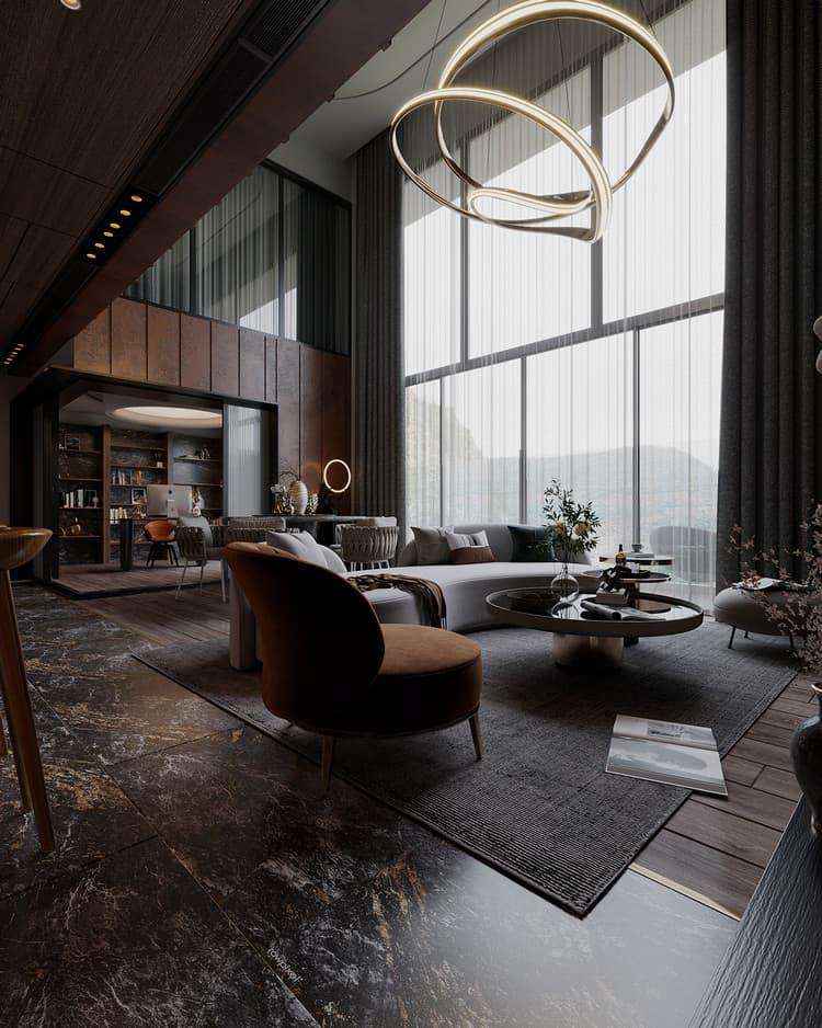 thiết kế căn hộ duplex phong cách công nghiệp