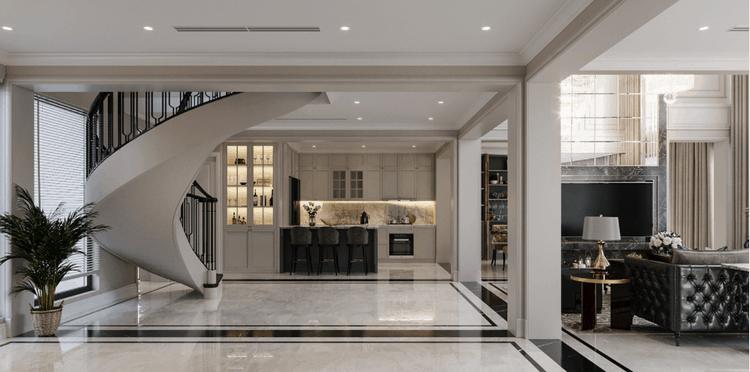 thiết kế căn hộ duplex tân cổ điển