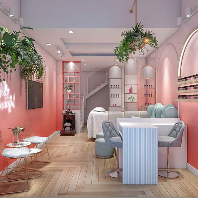 thiết kế spa màu hồng kết hợp màu xanh