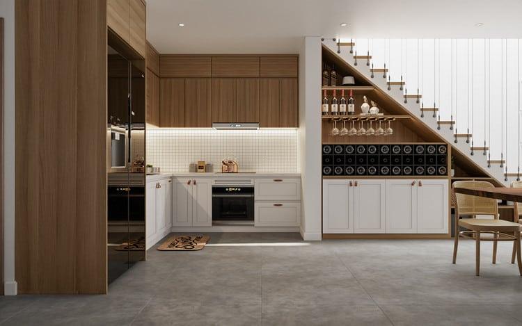 nội thất phòng bếp nhà ống 5m tối giản
