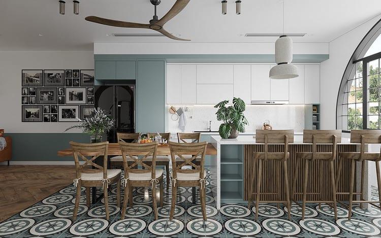 thiết kế nội thất phòng bếp nhà ống 5m tối giản