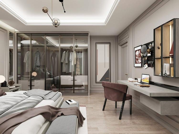 thiết kế nội thất phòng ngủ diện tích rộng cho nam