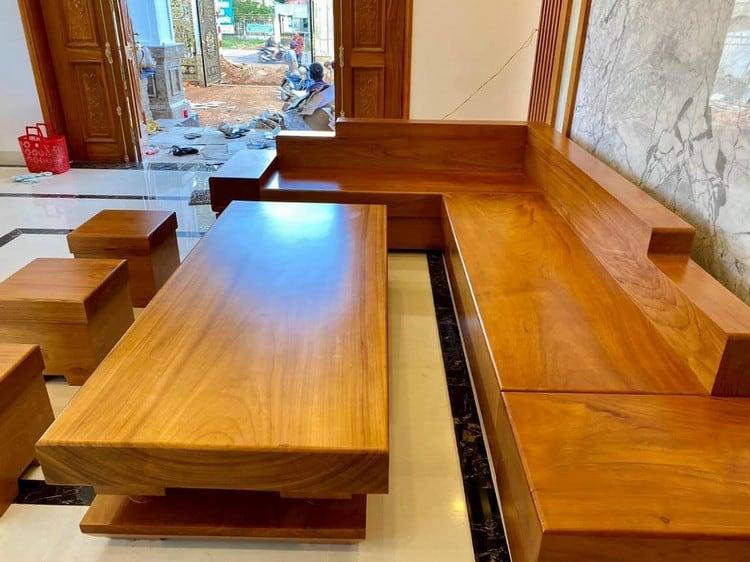 bộ bàn ghế sofa gỗ gõ đỏ nguyên khối