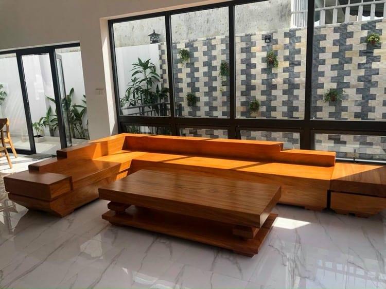 bàn ghế sofa gõ đỏ nguyên khối
