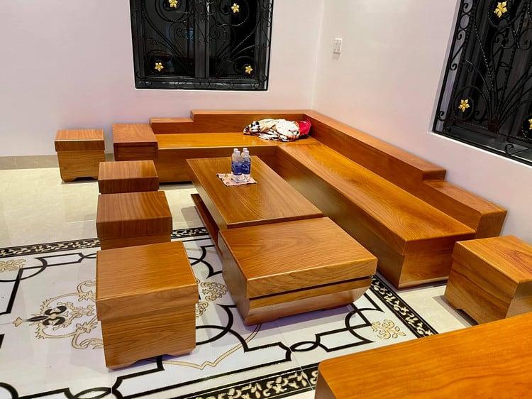 Mẫu sofa gõ đỏ nguyên khối đẹp