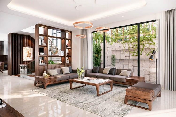 mẫu sofa gỗ óc chó cao cấp cho phòng khách