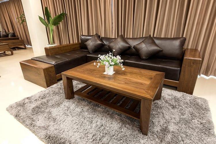 mẫu sofa gỗ óc chó chữ L