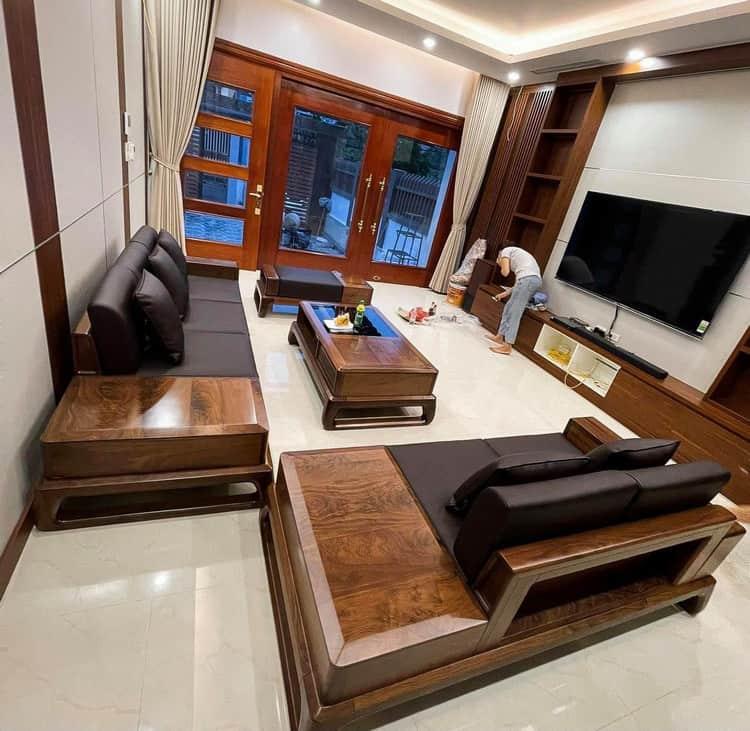 bàn ghế sofa gỗ óc chó cao cấp