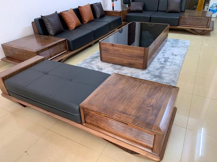 sofa gỗ óc chó với tính thẩm mỹ ấn tượng