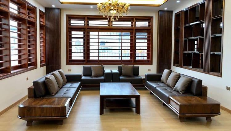 mẫu sofa gỗ óc chó sang trọng cho phòng khách
