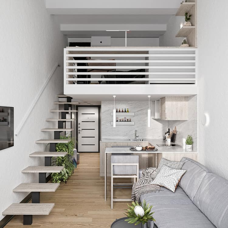 mẫu căn hộ có gác lửng làm phòng ngủ kết hợp làm việc
