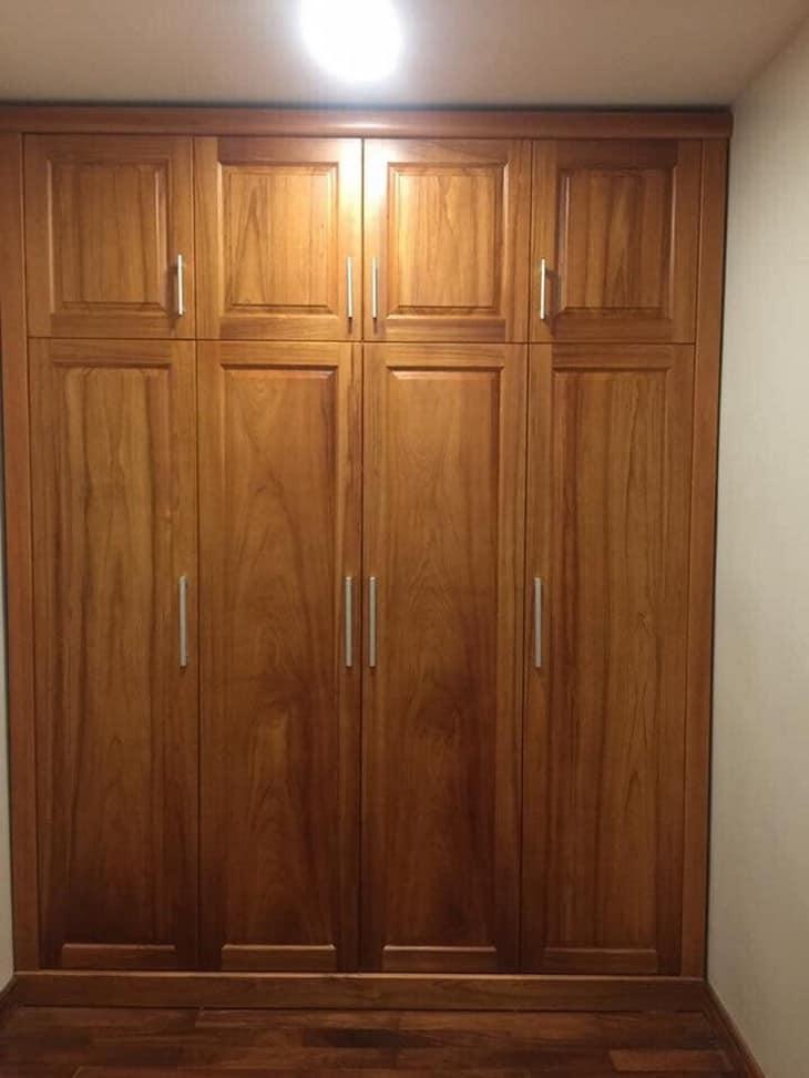 mẫu tủ quần áo 4 cánh gỗ gõ đỏ