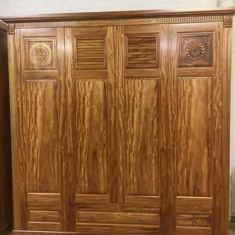 tủ quần áo 4 cánh gỗ hương xám