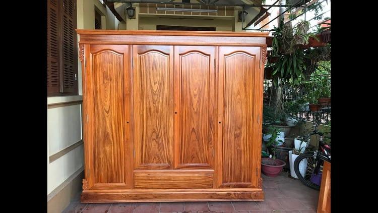 mẫu tủ quần áo gỗ gõ đỏ đẹp phong cách hiện đại