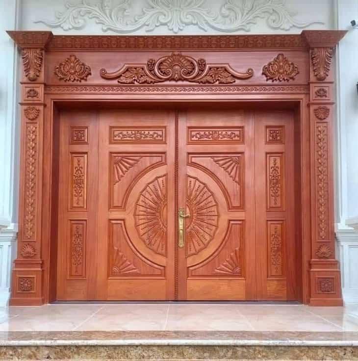 mẫu cửa gỗ biệt thự 2 cánh