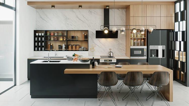 đảo bếp kết hợp bàn ăn từ gỗ công nghiệp