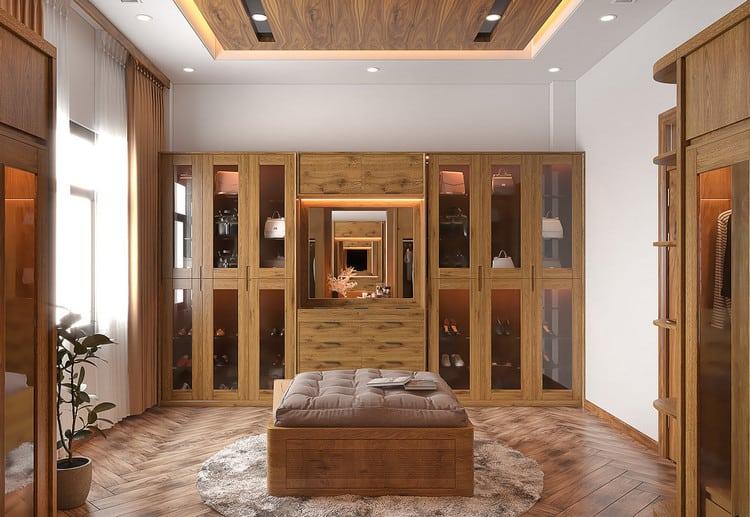thiết kế phòng ngủ master kết hợp phòng thay đồ
