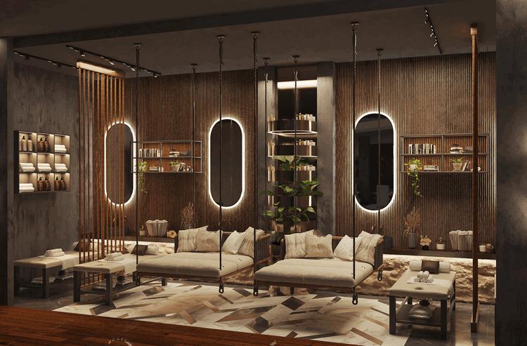 mẫu thiết kế nội thất spa phong cách mộc