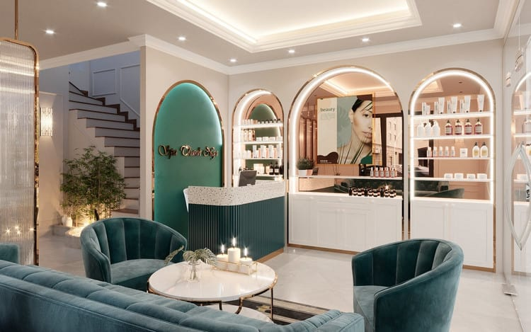 thiết kế phòng khách spa phong cách tân cổ điển
