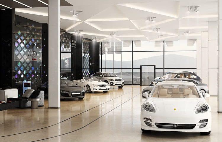 showroom ô tô sang trọng